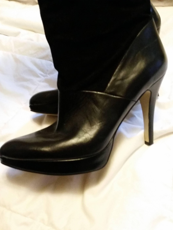 1190023b6829b BADASS 90'S VINTAGE Black Leather Platform Stilettos Rocker Knee ...