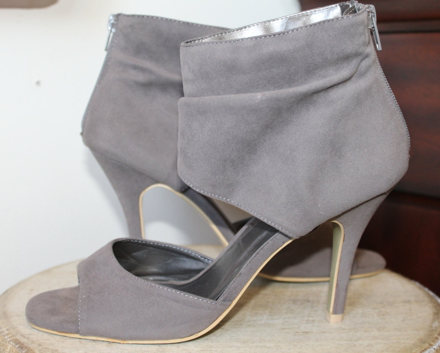 8f748dfa28398 SHADES OF GREY Sandals Booties Slouchy Ankle Corporate Sexy Office Faux  Suede Peep Toe High Heels. gallery photo gallery photo gallery photo ...