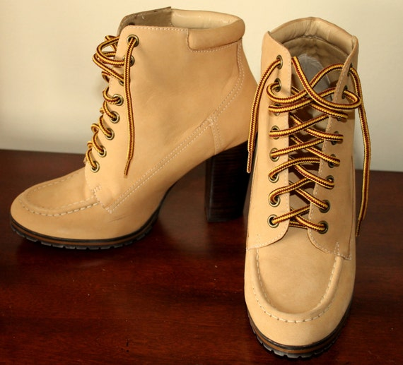 3e95638a523929 BOHEMIAN Vintage Colin Stuart Ankle Block Heel Hiking Boots