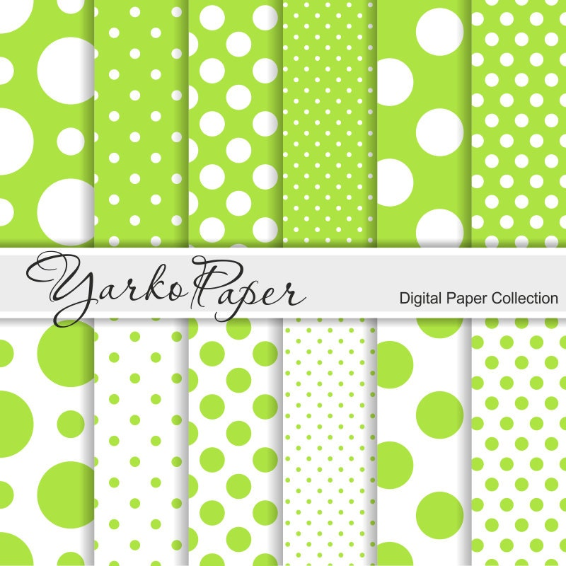 lime green and white polka dot digital paper pack scrapbook etsy