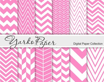 Pink Chevron Digital Paper Pack, Chevron Scrapbook Paper, Digital Background, 12 Sheets, Personal And Commercial Use - Instant Download