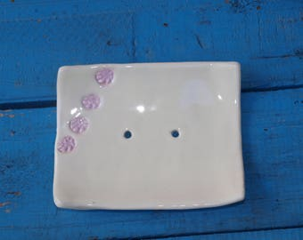 Soap Dish with pink pattern