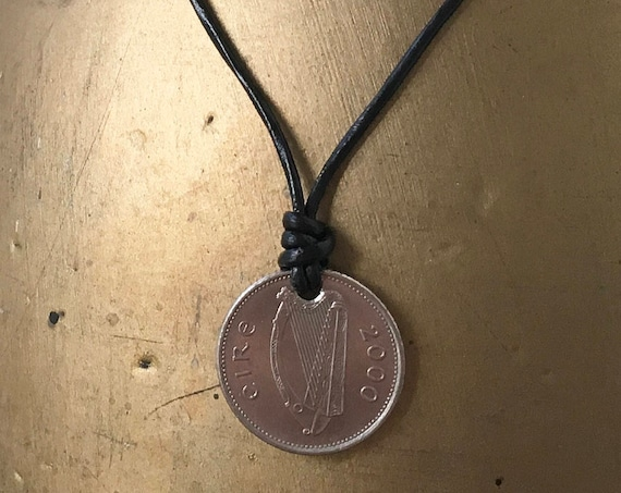Mens Irish coin necklace, leather pendent, birthday present, 2000, coin Ireland, leaping salmon, harp Irish heritage
