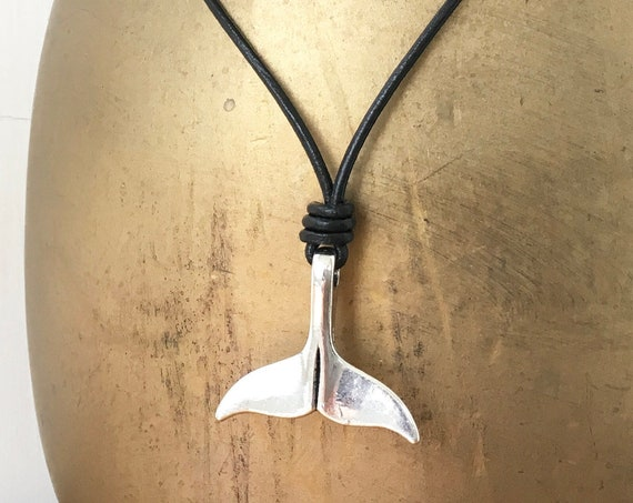 Whale tail necklace, mermaid tail pendant, dolphin fluke, adjustable black leather or black waxed cotton cord