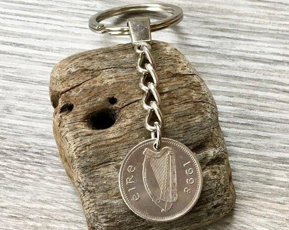 1998 Irish coin keychain, keyring or clip, lucky charm