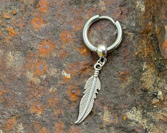 Feather thick hoop earring, available as single earring or pair of earrings, stainless steel hoop for men or women
