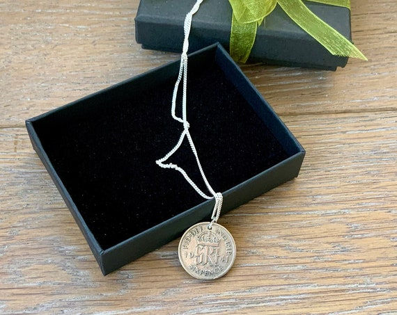 1941 or 1942  British silver Sixpence necklace with a sterling silver chain, choose coin year