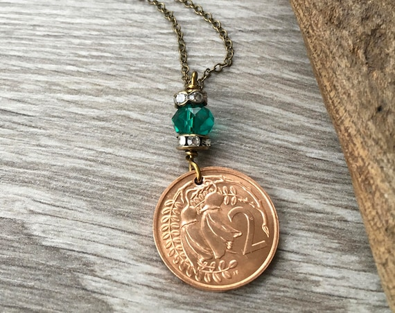 New Zealand coin pendant necklace, 1968 or 1969 2 cent coin, present woman, kōwhai flower Jewellery, 50th anniversary, retirement