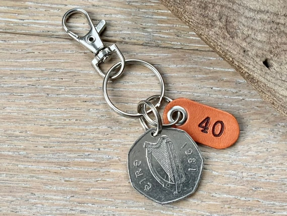 1981 Irish fifty pence coin keychain, keyring or clip, a perfect 40th birthday gift or 40th anniversary present for a man or woman