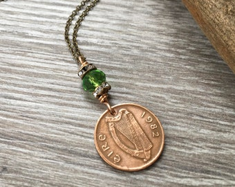 Irish penny necklace, 1982 celtic coin jewellery, lucky ireland coin, anniversary present for her, woman, wife, girlfriend
