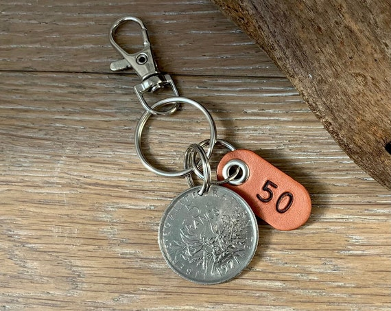 1971 French five franc coin key ring or clip 50th birthday or anniversary gift