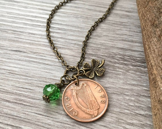 Lucky Irish penny pendant, 31st birthday, anniversary gift, green Celtic necklace, 1988 Ireland coin jewellery, Eire present for a woman