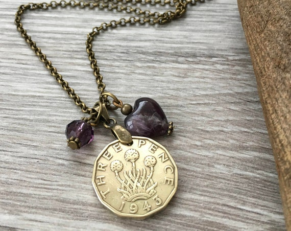 Threppence necklace, choose coin year, 75th or 76th birthday gift, old three penny, Amethyst heart pendant Jewellery gift for her woman