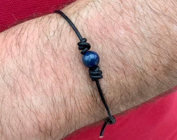 Sodalite knotted bracelet, handmade leather adjustable gemstone bracelet