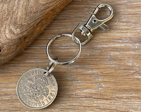 British Two shilling Coin keyring, UK florin clip, 1947, 1948, 1949, 1950 or 1951 choose coin year