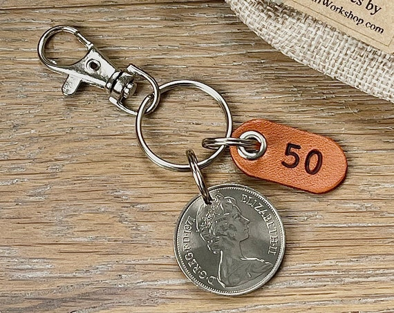 50th birthday gift, 1971 British ten pence coin keyring or clip with a number 50 leather tag