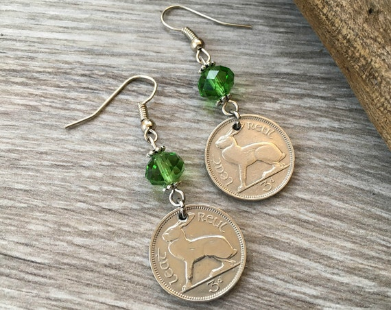1956 Irish hare coin earrings, stainless steel ear wires, 63rd birthday or anniversary gift