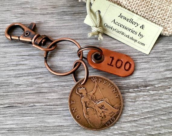 100th birthday gift idea, 1919 British penny keychain, Britannia keychain, 100 years old, English present for dad, grandad, great grandad
