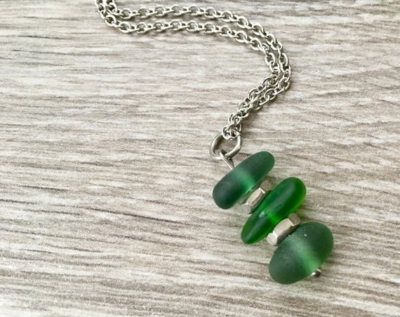 Green sea glass and hex nut pendant, Cornish beach glass necklace, recycled glass necklace, recycled wine bottle, stainless steel fine chain
