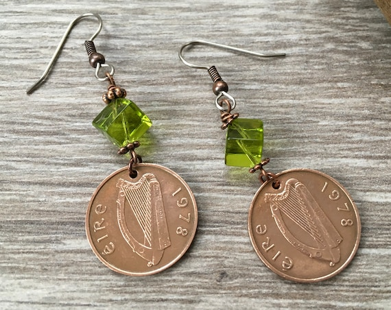 Irish penny earrings, birthday gift, choose coin year, Ireland jewellery, anniversary present for her, woman, Celtic Eire, long dangle