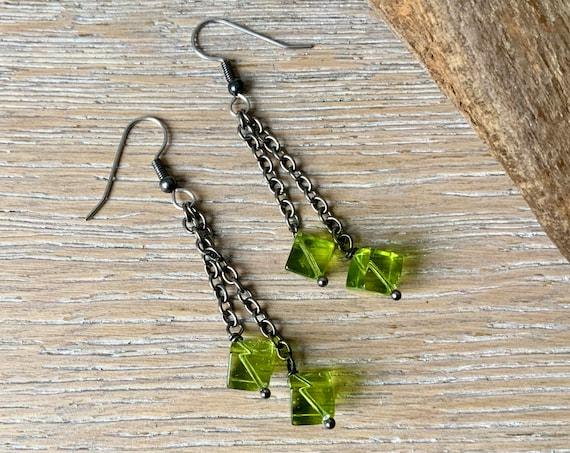 Lime green dangle earrings, glass cube and chain long earrings, unique unusual earrings, statement earrings