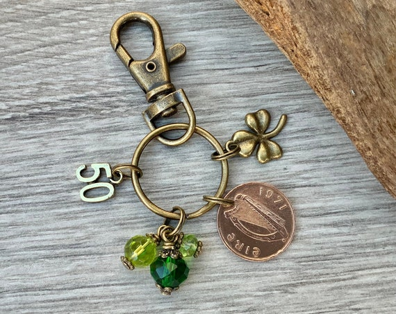 1971 Irish penny bag charm clip or Keyring, a perfect 50th birthday gift or Anniversary present