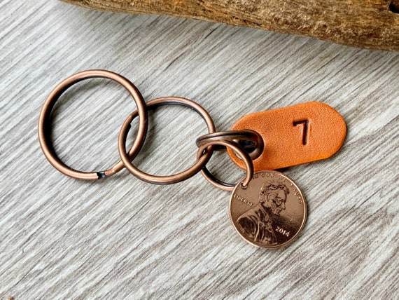 2014 USA penny, 7th anniversary gift, USA copper wedding anniversary, 7 years married, United States penny clip key chain