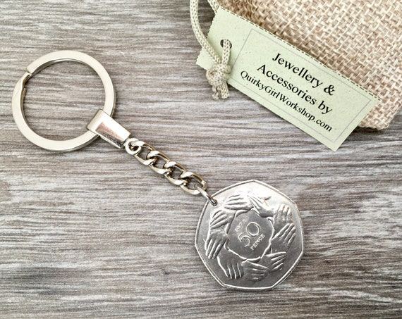 46th birthday gift, 1973 UK coin keyring, 7 sided coin, English keychain, England, 50 fifty pence piece key fob, anniversary gift for him