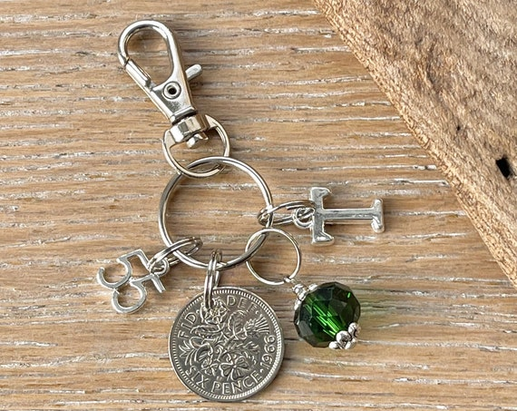 Emerald anniversary gift, 55th anniversary 1966 lucky sixpence green bead charm, bag clip, choose initial