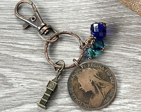 Queen Victoria penny bag charm or keyring, Victorian British antique 1896 coin