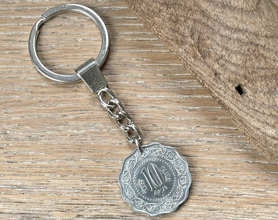 1971 Indian 10 paise coin key chain, a perfect 50th birthday or anniversary gift, this would also make a great gift for a traveler