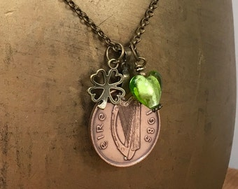 Irish coin necklace, Available in years 1980, 1982, 1985, 1986 or 1988 choose coin year for a perfect birthday or anniversary gift
