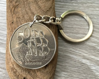 50th Birthday Gift 1969 New Zealand Coin Keyring Endeavour 50 Cent