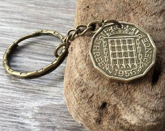 English brass three penny clip 66th or 67th birthday gift GB threepence keyring 1954 or 1955 British coin keychain