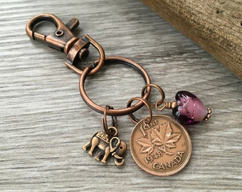 Canada Coin Keyring Choose Year Maple Leaf Keychain 1948 1949 Canadian Penny Bag Clip 70th Birthday Gift Present For Her Woman