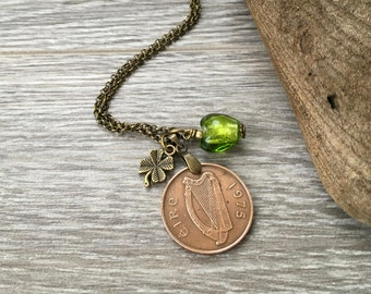 44th Birthday Gift 1975 Irish Coin Necklace Green Glass Heart Charm Pendant Ireland Anniversary Present For Her Woman Wife Girlfriend