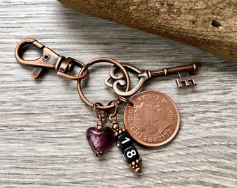 18th Birthday Gift 2001 British Coin Keychain Handbag Charm English Anniversary Coming Of Age Key To The Door Present For Her Woman