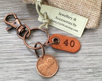 40th Birthday Gift 1979 USA Coin Keychain American One Cent Keyring Lucky Penny Clip Anniversary Present For Him Man Woman Husband