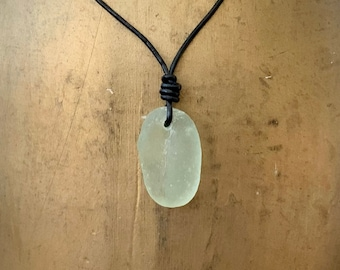Sea Glass Puget Sound Knotted Cord Necklace
