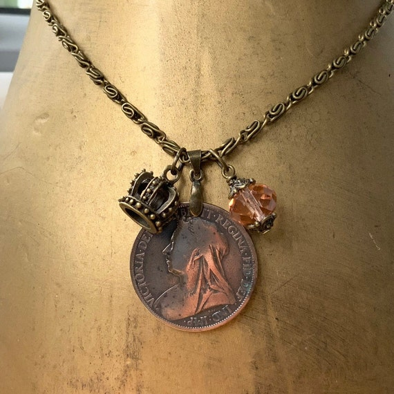 old Victorian penny necklace, 1897 British antique coin pendant, Queen Victoria, English present for a woman, long necklace