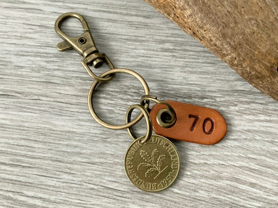 70th birthday gift, 1950 German coin keyring or clip, Germany 10 pfennig keychain, for a  man or woman