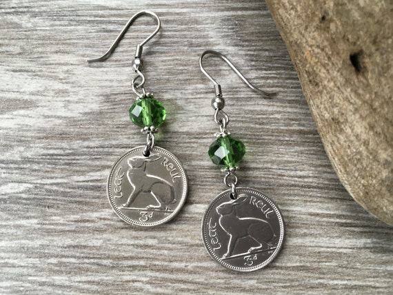 Irish hare coin earrings, 1940, 1942, 1943 or 1946, Ireland gift for her, woman, mum, aunt, friend