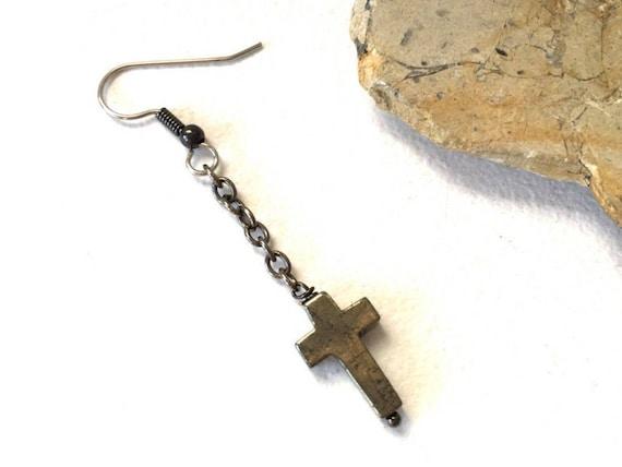 Long iron pyrite cross earring, mans long earring, mens Jewelry, minimalist cross jewelry, single gemstone earring, mens dangle earring