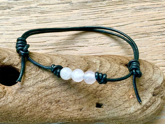 Rose quartz bead knotted bracelet, simple adjustable jewellery for men or women, handmade with a leather cord