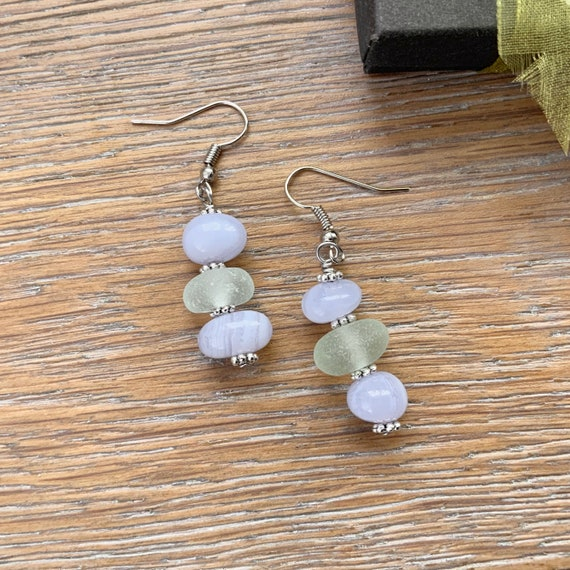 Blue lace agate and sea glass earrings, beach glass jewellery, stainless steel ear wires unusual cool birthday gift for a woman