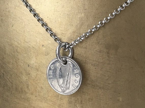 1998 or 2000 Irish coin necklace, Taurus, bull, stainless steel, 19th or 21st birthday or  anniversary present for him, men, son