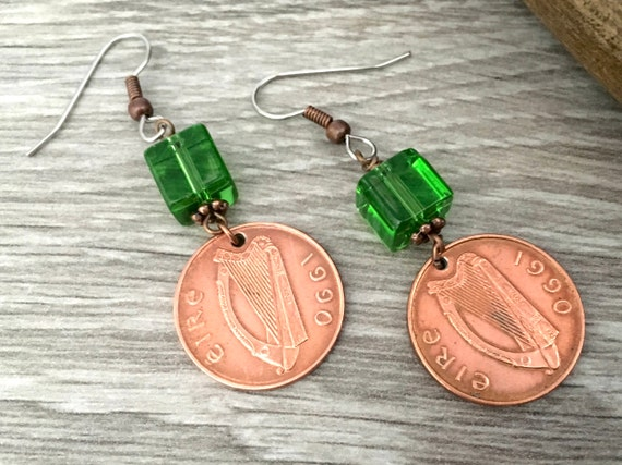 27th or 29th birthday gift 1990 or 1992 Irish penny earrings, lucky coin, long dangle, Eire Ireland anniversary present for her, woman, wife