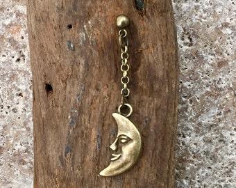 Man in the moon drop earring, celestial long dangle earrings, available a single earring or a pair of earrings