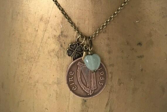 66th birthday gift, Irish long 1953 coin necklace, green aventurine heart, shamrock, lucky irish talisman, vintage coin from Ireland