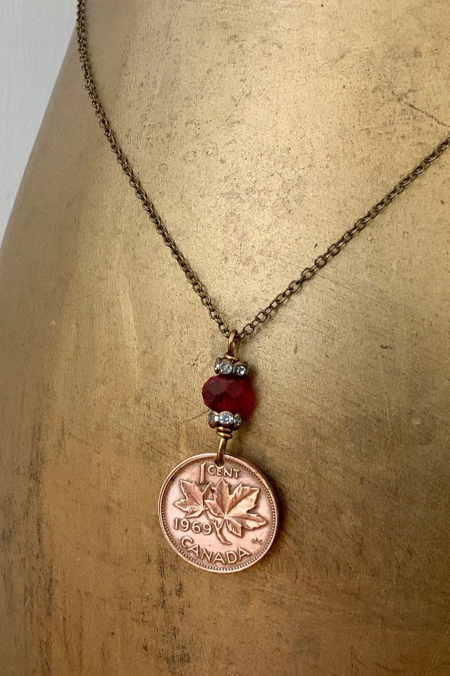 Canadian Coin Necklace 1969 Or 1970 One Cent Pendant Maple Leaf Penny Canada 50th Birthday